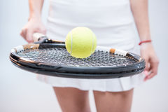 Female tennis player with racquet Royalty Free Stock Image