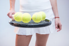 Female tennis player with racquet Royalty Free Stock Photography