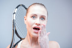 Female tennis player with racquet Royalty Free Stock Photo