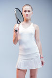Female tennis player with racquet Stock Photography