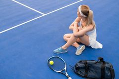 Female Tennis Player Resting stock images