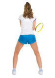 Female tennis player in stance . rear view Royalty Free Stock Photo