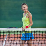 Female tennis player on the tennis court Stock Photos