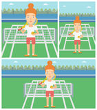 Female tennis player vector illustration. Stock Images