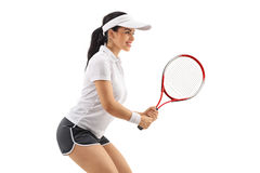 Female tennis player waiting for a service Stock Photography