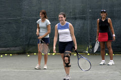 Female tennis players laughing Stock Photos