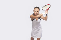 Female Tennis Sportswoman In Professional Outfit Preparing to Se Stock Photography