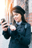 Female texting message Royalty Free Stock Photo