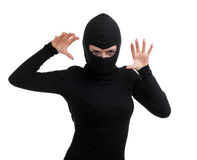 Female thief in black balaclava Royalty Free Stock Photo