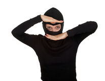 Female thief in black balaclava Stock Images