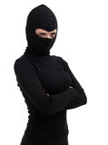 Female thief in black clothes Royalty Free Stock Image