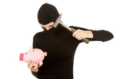 Female thief in black clothes and balaclava Royalty Free Stock Images