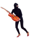 Female thief  with electric guitar Stock Photos