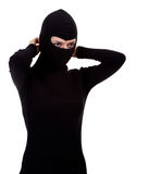 Female thief founding balaclava Royalty Free Stock Photos