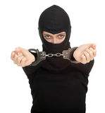 Female thief with handcuffed hands Royalty Free Stock Image