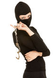Female thief with handcuffs Stock Photography