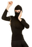Female thief with handcuffs Royalty Free Stock Photography