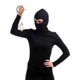 Female thief keeping handcuffs Stock Photos