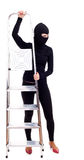 Female thief  keeping ladder Stock Image