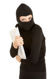 Female thief steal documents Stock Image