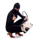 Female thief with stolen bag, thumb up Stock Photos