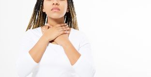 Female Throat Pain. Closeup Of Sick Beautiful Woman With Sore Throat Feeling Bad, Suffering From Painful Swallowing. Girl Touching royalty free stock photo