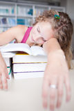 female tired college student Royalty Free Stock Images