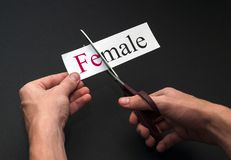 Female to Male Gay Transgender Message. With Hands Stock Image