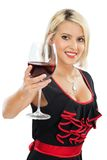 Female toasting with red wine Royalty Free Stock Photos
