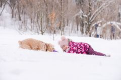 Small girl play with cocker spaniel outdoors. Female toddler with dog play with ring toy in snow. Small girl play with cocker spaniel outdoors stock image