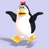 Female toon penguin. Cute female toon penguin with Clipping Path over blue Royalty Free Stock Photo