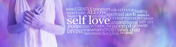 Self love word tag cloud. Female torso holding hands over heart against a pink purple background with a SELF LOVE word cloud to the right side stock illustration