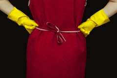 Female torso and red smock Stock Photo