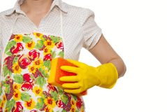 Female torso in white shirt. Apron hand with yellow glove holding a yellow sponge with a red on a white background Royalty Free Stock Image