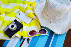 Female tourist accessories: cover, sunglasses, straw hat, passpo Royalty Free Stock Images