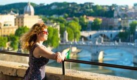 Female tourist admiring the view of Rome Stock Photos