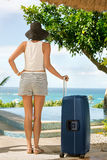 Female tourist arrived on summer vacation royalty free stock photos
