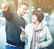 Female tourist asks for directions Royalty Free Stock Photos