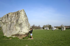Female tourist avebury ring wiltshire uk Royalty Free Stock Photo