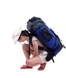 Female tourist with backpack Royalty Free Stock Photo
