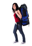 Female tourist with backpack Royalty Free Stock Photos