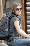 Female tourist with backpack Stock Image