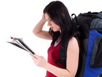 Female tourist with backpack and map Stock Photos