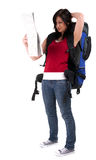 Female tourist with backpack and map Royalty Free Stock Photo