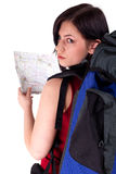Female tourist with backpack and map Stock Photo