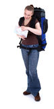 Female tourist with backpack and map Stock Image