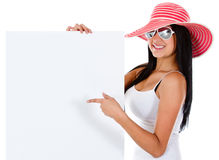 Female tourist with a banner Stock Image