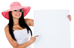 Female tourist with banner Stock Images