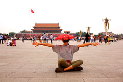 Female tourist at Beijing, China stock photography