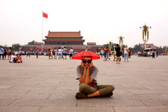 Female tourist at Beijing, China stock images